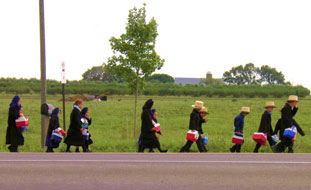 Amish children walking to school